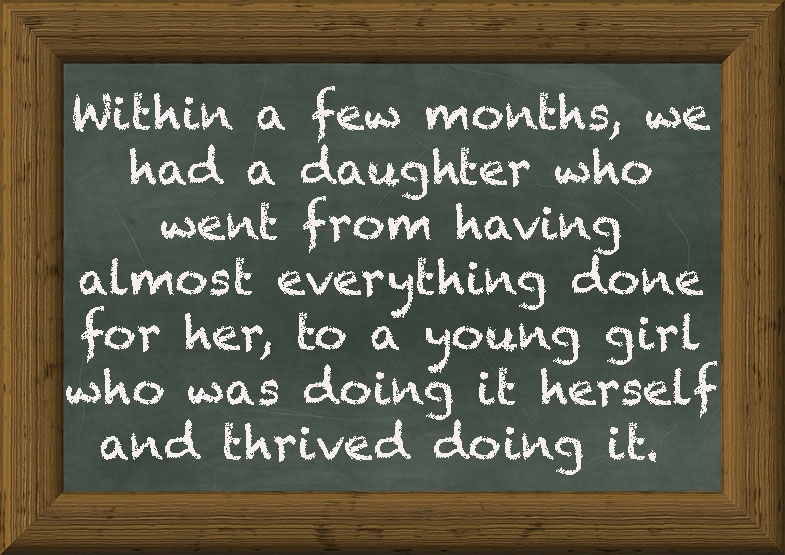 Wonderful account from a mother, matching support to her daughter's actual needs, and quite literally opening up the world to her.