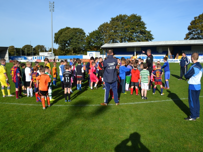Children at Stair Park for the launch of the Stranraer FC community engagement programme